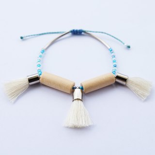 Natural wooden long beads with cream tassels string bracelet