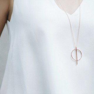 Minimalist series of simple circle sterling silver plated 18K gold necklace