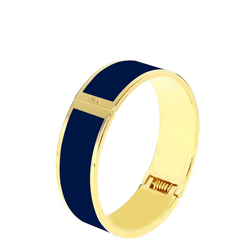 Pure color Prussian blue cloisonne enamel series solid color bracelet (gold) -11800159015