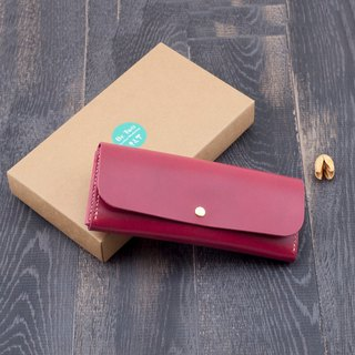 Be Two ∣ handmade leather long clip / leather wallet / zip coin purse / full leather mezzanine (agate red)