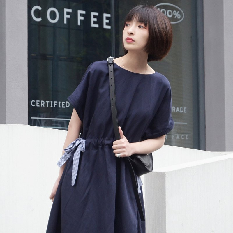 Navy blue Japanese splicing dress | dress | spring and summer models | linen + cotton | Sora-272