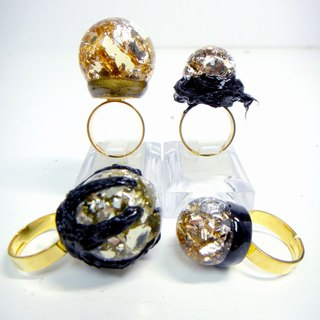 OBK series gold foil bird nest glass ball ring silver foil crystal ball soft black black series