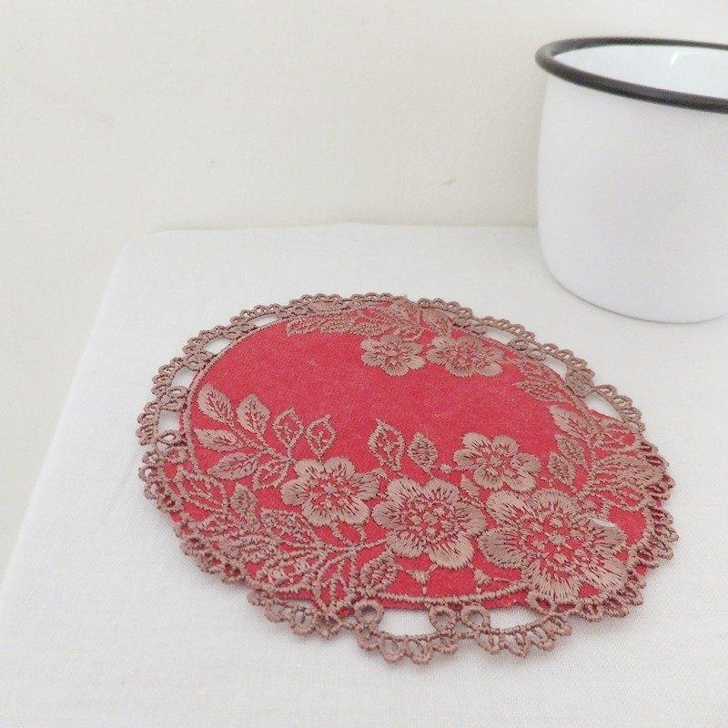 唐花藝現刺繡蕾絲墊 置物墊 杯墊-冬梅 紅色