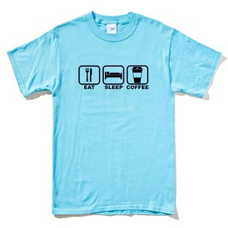 Eat Sleep Coffee Short Sleeve T-shirt Aqua Blue English Eating Coffee