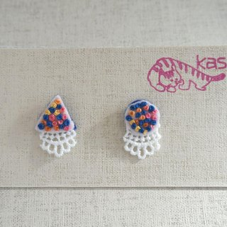 "Hand embroidery pierced earring""Spring color Circle,Triangle"""