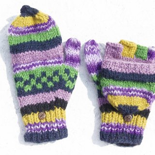 Christmas gift creative gift limited a hand-woven pure wool knitted gloves / removable gloves / bristles gloves / made in nepal - bright purple forest national totem