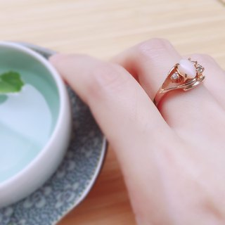Romantic vintage Sakura gemstone ring
