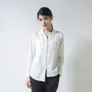 SU: MI said Ivory Ivory Tower Back Pleated Shirt _6SF021_ White