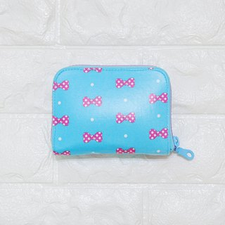 Play cloth hand made. Bow (water blue) tarpaulin short clip wallet purse coin purse