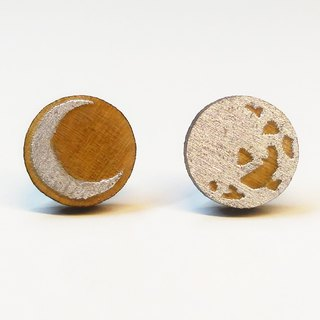 [Full moon month] colored stick wooden earrings