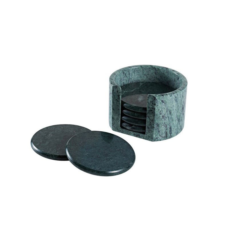 Natural marble coaster 6 into the storage base set (green) Tea ceremony accessories / round insulation / cup holder