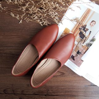 Burnished Dermis Calf Leather Shoes (Red Brown)