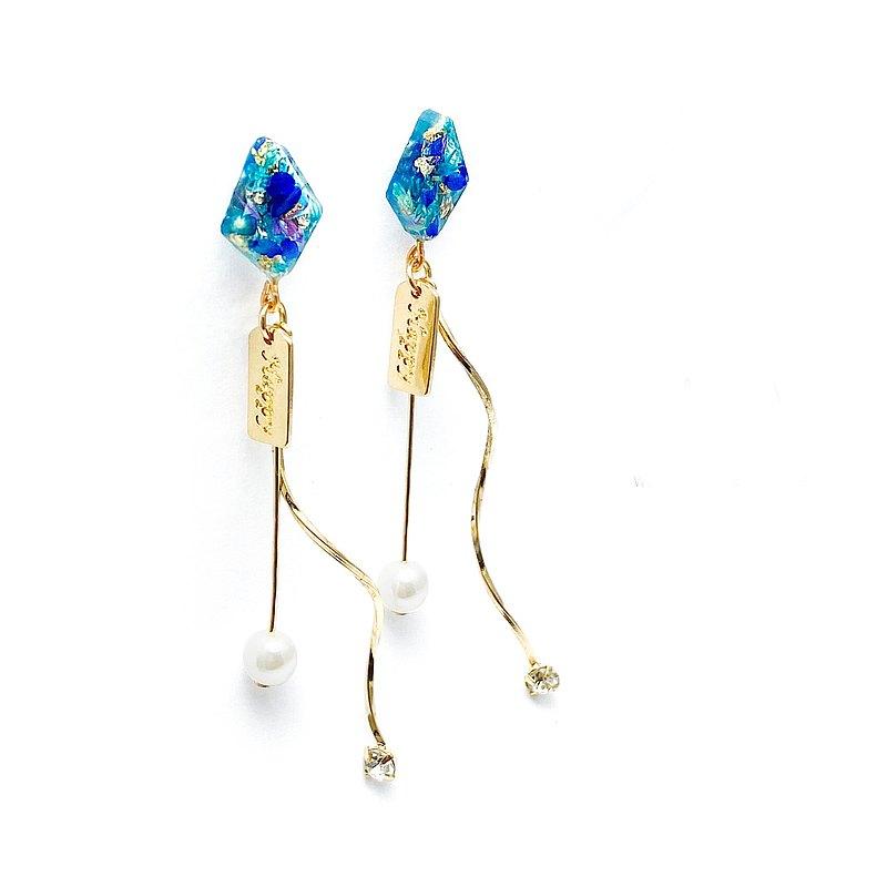 日本樹脂藍色滿天星垂墜耳環(可改夾)