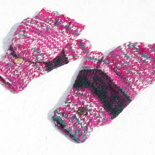 Christmas gift creative gift exchange gift limited a hand-woven pure wool knitted gloves / removable gloves / bristles gloves / warm gloves (made in nepal) - gorgeous pink color national totem