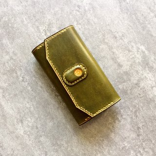 Olive green Italian tanning leather key case pure handmade free customization