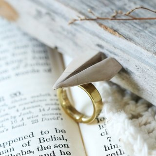 Linen Jewelry Airplane Paper Ring / Origami Ring / Paper Plane Ring / Everyday Jewelry / Designed Ring.