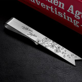 Engraved Bookmark - Sakura Bookmark personalized - Sterling silver 925