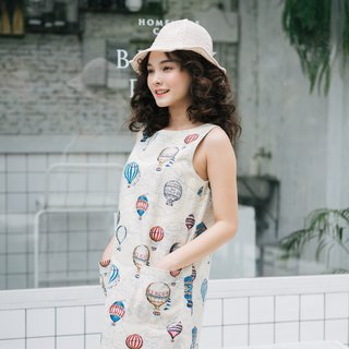 A line dress Balloon Festive Dress Sleeveless Cotton Canvas Dress Summer Dress
