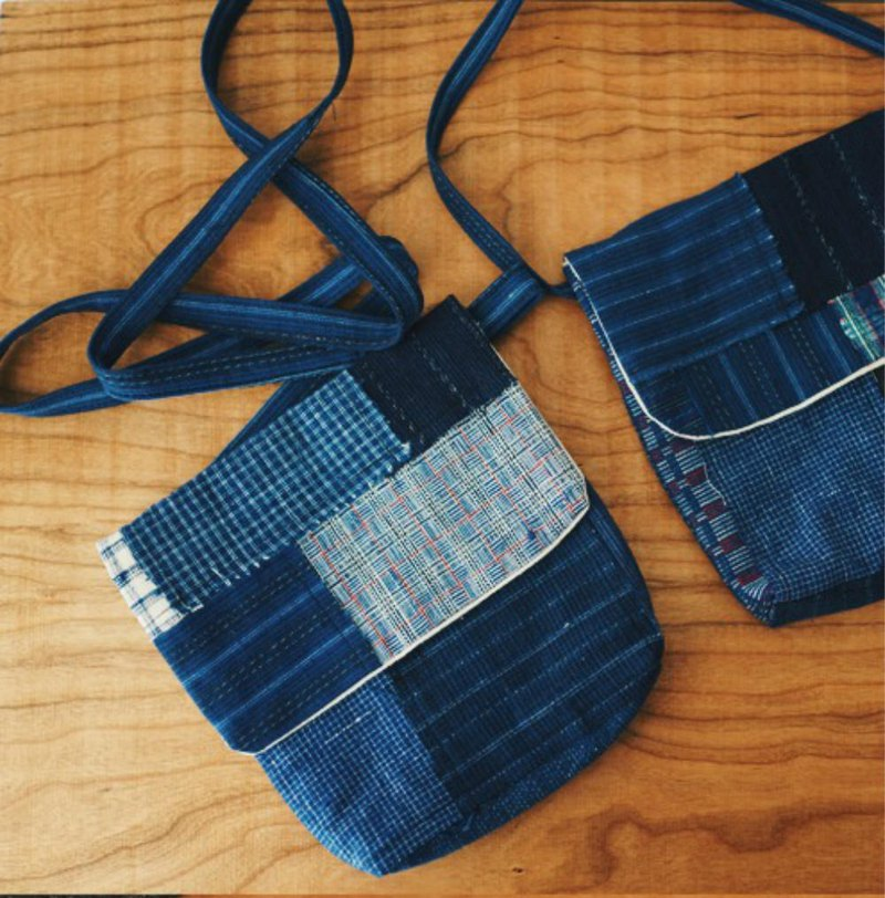 Blue dyed hand woven cloth fabric dark blue plant dyeing Mini green ecological bag storage bag strap adjustable