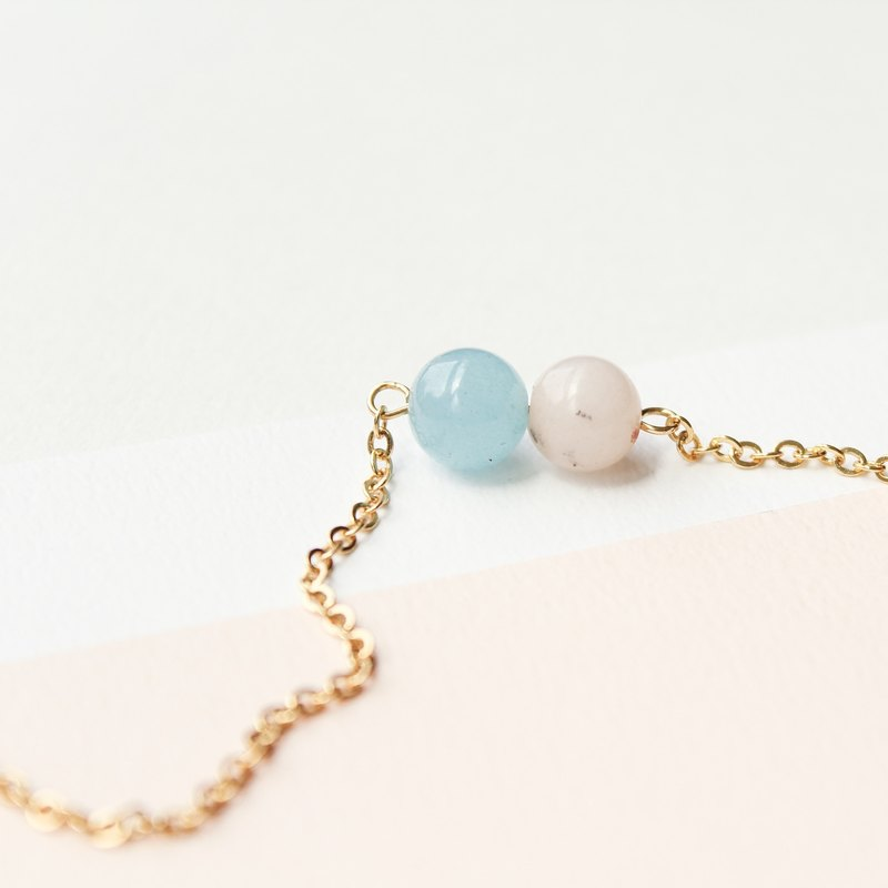 [Day daily] pink pearl girl gold short chain