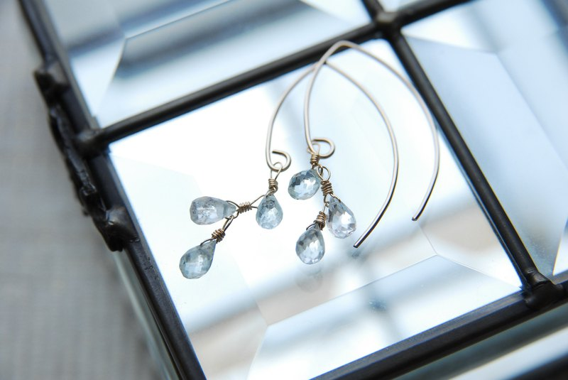 Aquamarine Drop 3 Marquis Hook Earrings 14kgf