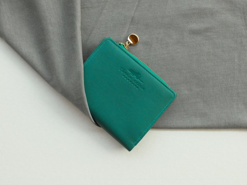 SOLD OUT- PEONY - SMALL LEATHER SHORT WALLET WITH COIN PURSE- BRIGHT GREEN