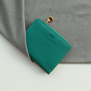 PEONY - SMALL LEATHER SHORT WALLET WITH COIN PURSE- BRIGHT GREEN