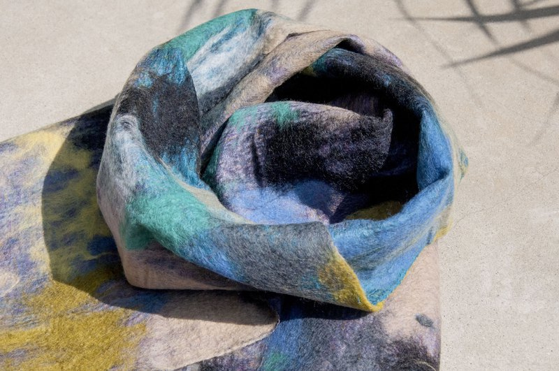 Wool felt scarves / wet felt scarves / watercolor art scarf / wool gradient scarves - impression oil painting