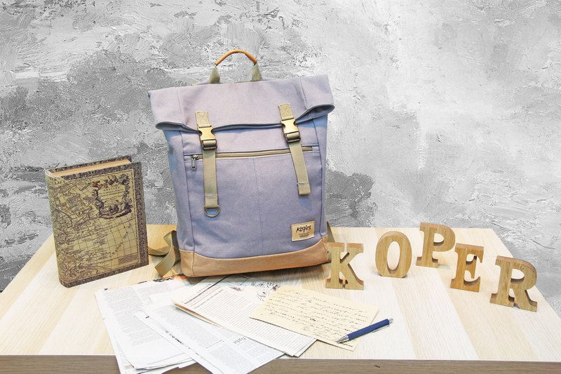 [Uneven sail] retro double buckle back backpack / canvas - calm gray