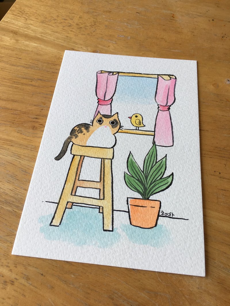 Hand-painted postcards - a meow by the window