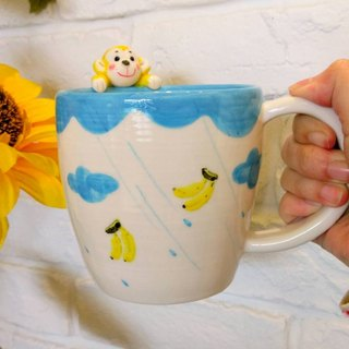 Drink a cup of drink with you hand-made mug - gold monkey version about 420c.c