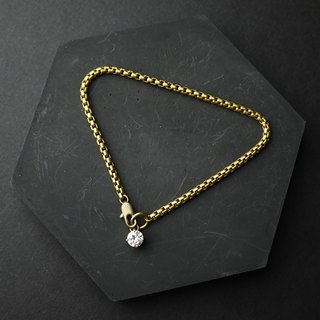 Round Diamond Tail - Brass Bracelet