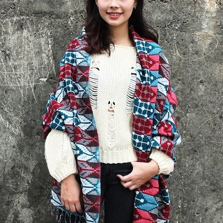 【Grooving the beats】Hand woven Ethinic Shawl / Scarf / Blanket(Arrow print design_Red+Blue)