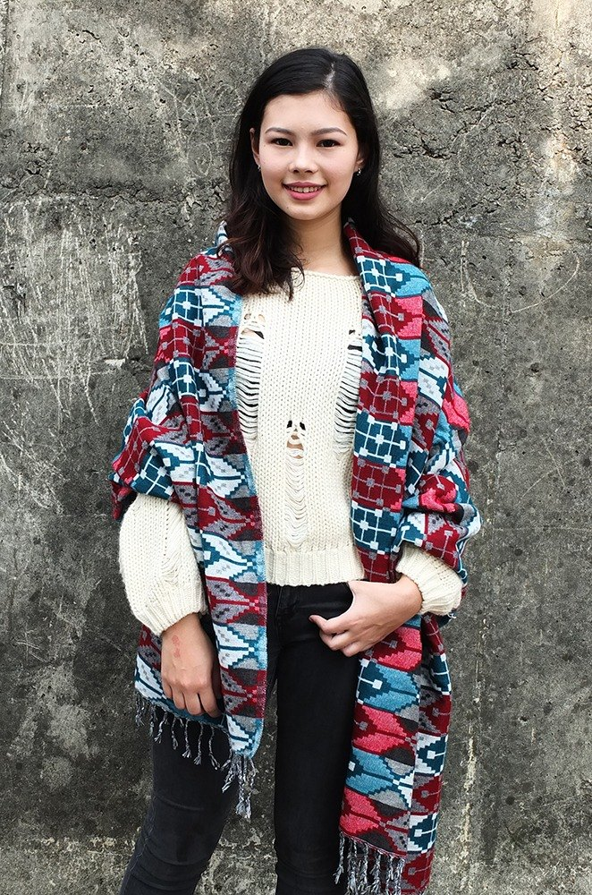 Hand woven Ethinic Shawl / Scarf / Blanket Arrow print design Red+Blue