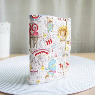 Lovely Passport Case [Japanese Cloth] Circus Amusement Park Passport Cover, Book Cover, 9.5X14cm White