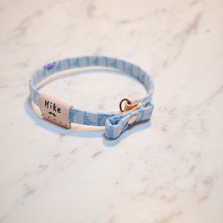 Cat small 啾啾 collar water blue wave seagull with double-sided twisted leather case gift bell can add purchase tag
