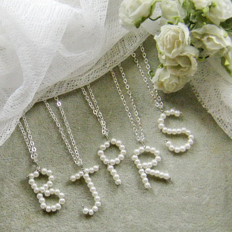 Glass pearl pendant necklace letter