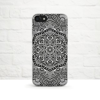 Mandala, White, Clear Soft Case, iPhone X, iphone 8, iPhone 7, iPhone 7 plus, iPhone 6, iPhone SE, Samsung