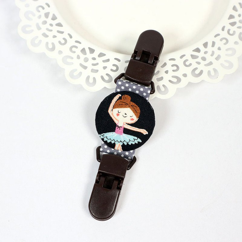 Double-sided handkerchief clip universal clip nipple clip double-head clip - ballerina girl (black)