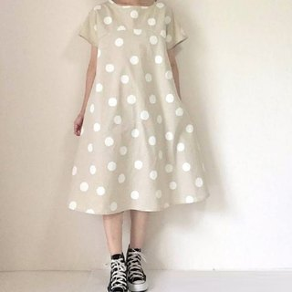 Snow polka-dot flare dress dress cotton linen production color