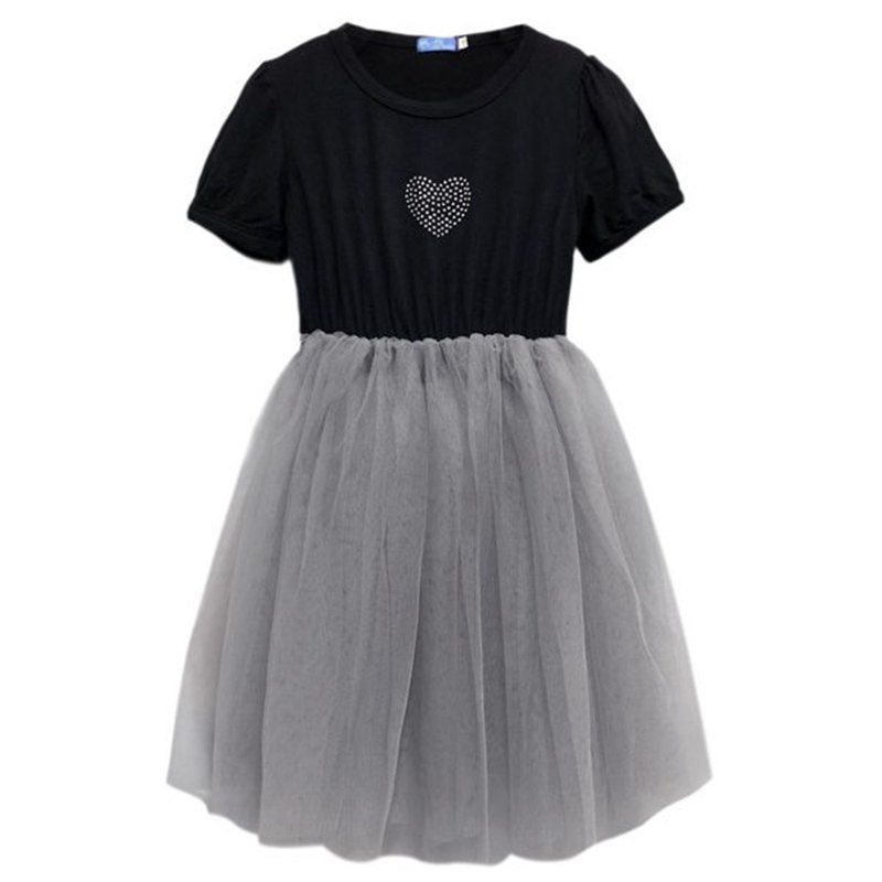 Hot Drill Short Sleeve Dress Skirt Dress Tu Tu-BlackGray-Heart Black Gray - Love