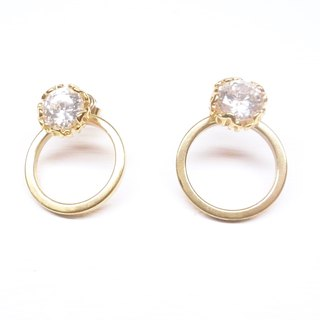 Ermao 【Brass plated 18K gold + personalized plain side of the circle combination of zircon earrings】 a pair