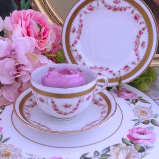 ♥ Anne Crazy Antique ♥ British 1920 Hand-painted Rose Antique Flower Cup Hand-painted Rose 24k Golden Flower Cup, Coffee Cup 3-piece