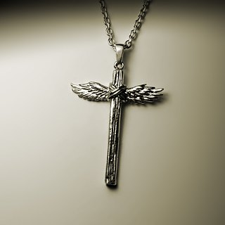 Wing wood grain cross necklace