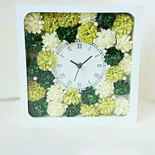 Flower Clock square (white) Carnation (Green Mix) ver.