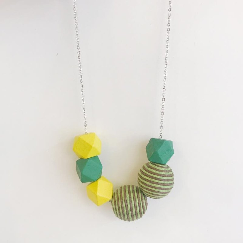 Yellow Green  Wooden Ball Necklace Birthday Gift Bridesmaid Gift