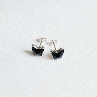Butterfly-shaped glass/Black/Earrings/Swarovski Crystal/Sterling Silver/By hand【ZHÀO】SZE1652