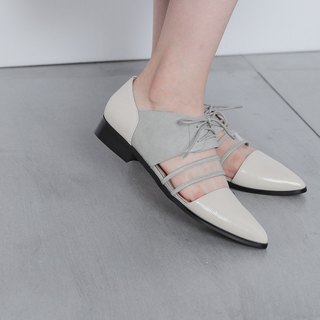 Multi-layer material stitching Oxford sandals white gray