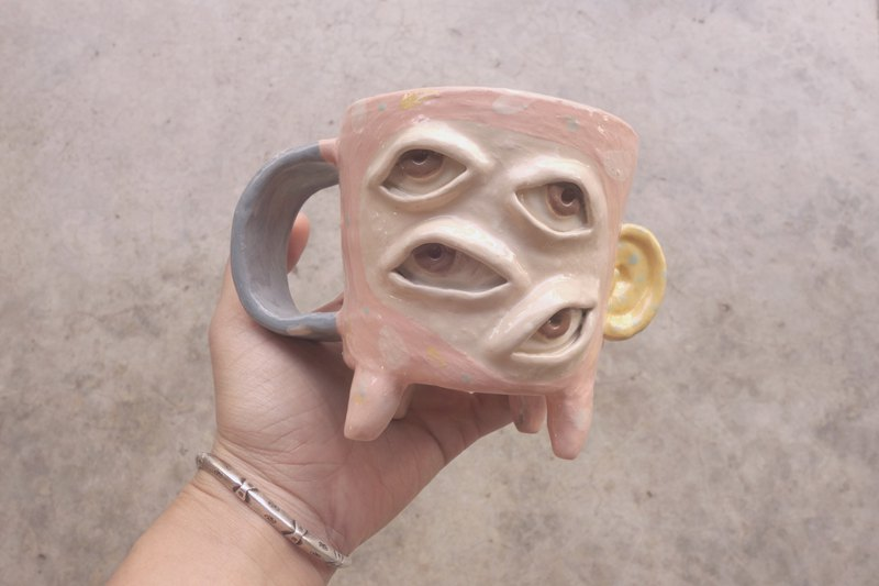 Handmade ceramic mug 4eye in pink with yellow ear :)