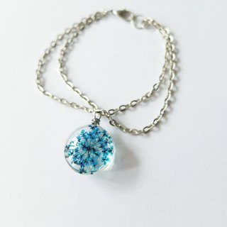 Peacock blue double chain glass flower bracelet